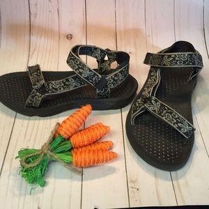 Teva Black Strappy Sport Summer Sandal Sz 7